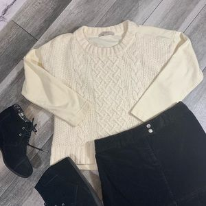{Loft} wool blend cable knit sweater